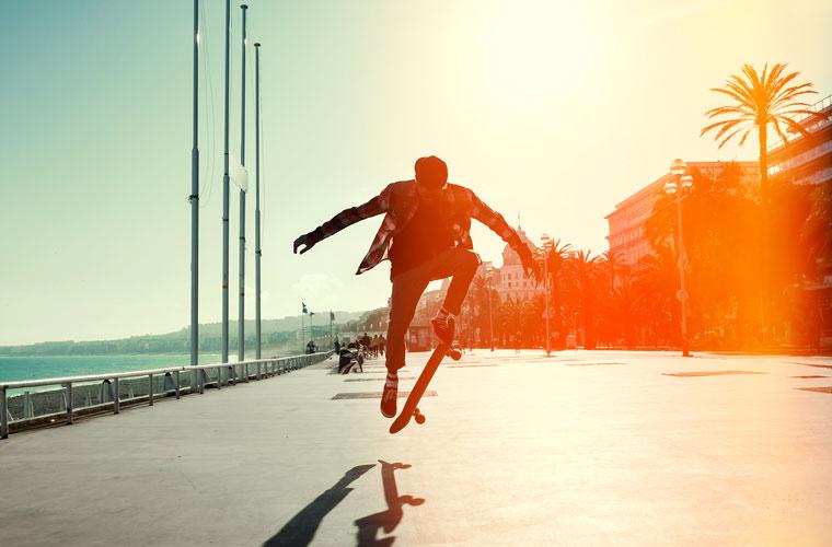 Baords aus nachwachsenden Rohstoffen, Skateboardfahren