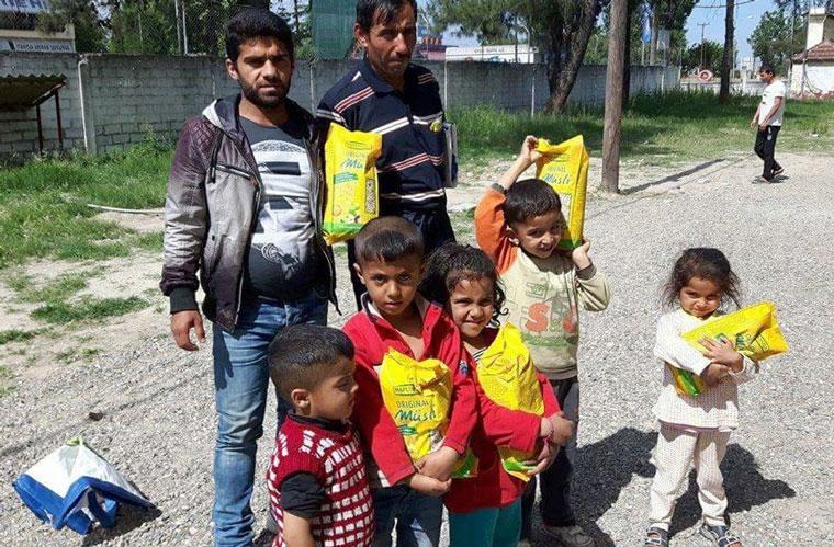 Nahrungsmittel-Spende für Flüchtlinge