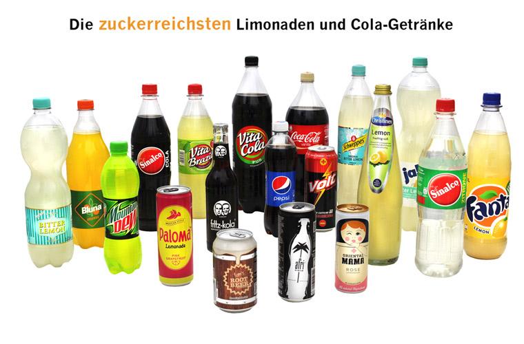 Limonade und Cola enthalten quasi nur Zucker