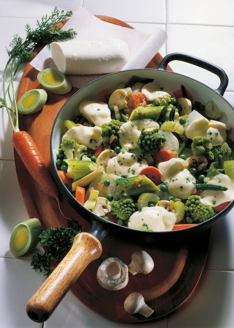 Gemüsepfanne mit Mozarella, Lauch, Herbstküche