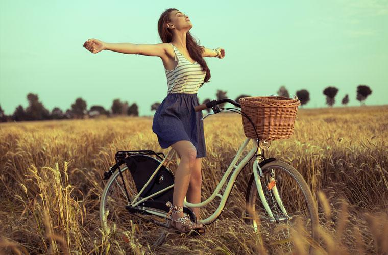 Gesund sein, glücklich und lange leben, Freiheit und Zufriedenheit
