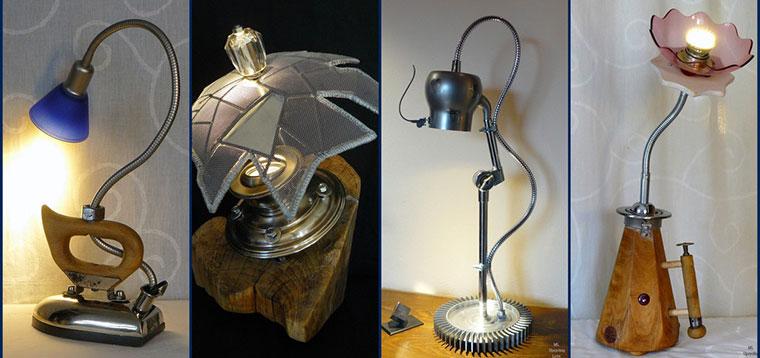 upcycling lampe selbst gemacht leuchte handmade aus schrott fuers zimmer. Black Bedroom Furniture Sets. Home Design Ideas