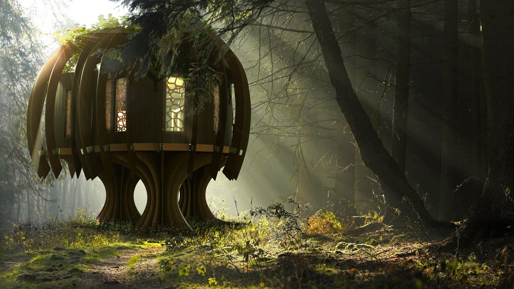 baumhaus im wald holz magisch ruhig fee quiet treehouse von blue forest. Black Bedroom Furniture Sets. Home Design Ideas