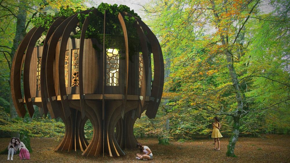 Magisches Baumhaus: Stilles Leben Aus Holz Im Feenwald