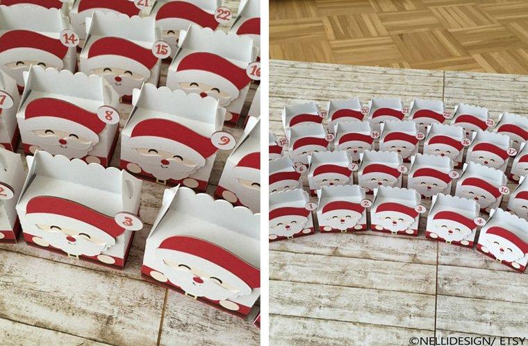 24 kleine Weihnachtsmänner zum befüllen