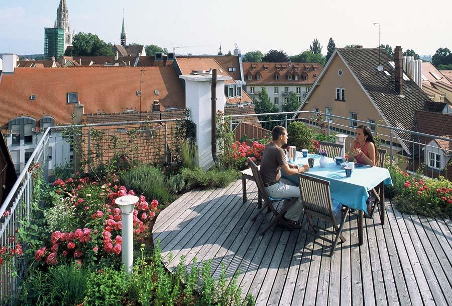 Dachterrasse Gestaltung Pflanzen für intensive Dachbegrünung