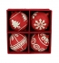 4-er Karton, Jute Kugeln, rot, L
