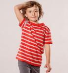 Living Crafts - Kids Kinder T-Shirt mit Streifen Bio-Baumwolle - rot-grau