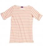 Living Crafts Gestreiftes 3/4 Shirt - Biobaumwolle - natur/koralle