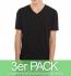 nakedshirt James - V-Neck T-Shirt aus Biobaumwolle - schwarz 3er-Pack
