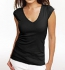 Bella Sheer Rib Cap Sleeve Deep V-Neck Top schwarz
