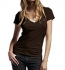 Continental Clothing Deep V-Neck Fine Jersey T-Shirt bitter chocolate