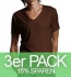 Continental Clothing Deep V-Neck Jersey T-Shirt bitter chocolate 3er-Pack