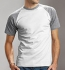 Hanes Baseball T-Shirt weiss-heather grey