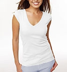 Bella Sheer Rib Cap Sleeve Deep V-Neck Top weiss