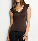 Bella Sheer Rib Cap Sleeve Deep V-Neck Top chocolate