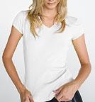 Bella Baby Rib Short Sleeve V-Neck T-shirt weiss