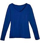 Living Crafts Langarmshirt mit V-Ausschnitt - Biobaumwolle blau