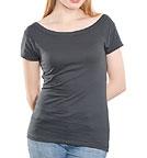 nakedshirt Alice - T-Shirt mit U-Boot-Ausschnitt - asphalt