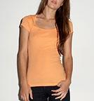 Bella Sheer Rib Short Sleeve Scoop Neck T-Shirt orange sorbet