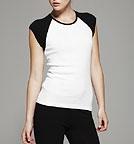 Bella Cap Sleeve Raglan T-Shirt weiss - schwarz