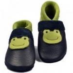 Pantolinos - Babyschuhe Bio-Leder Frosch blau