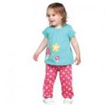 Frugi - Set Shirt türkis und lange Hose pink, kbA