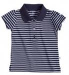 Liegelind - geringeltes Mädchen-Poloshirt blau, kbA