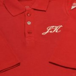 Liegelind - Langarm-Poloshirt mit Namen rot, kbA