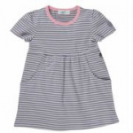 Cotton People Organic - Kleid Ringel grau-rosa, kbA