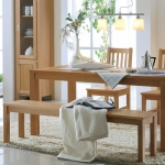 "Sitzbank ""Culina 01"" (Polstersitzfläche mit Holzlehne, 200cm, Kernbuche, Bezug Echtleder - cappuccino)"