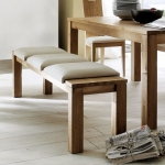 """Sitzbank """"Culina 02"""" (Holzsitzfläche mit Polsterlehne, 160cm, Eiche, Bezug Echtleder - schwarz)"""