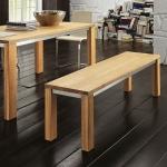 "Sitzbank ""Lucia 02"" (Polstersitzfläche ohne Lehne, 040/200cm, Nussbaum, geölt, Bezug Echtleder - cappuccino)"