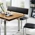 "Sitzbank ""Mercedo"" (Holzsitzfläche mit Polsterlehne, 180cm, Buche, Bezug Echtleder - cappuccino)"