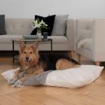 """Hunde-Kuschelkissen """"Suave"""" (natur, Ø60cm, dunkelblau, Schafschurwolle und Latexflocken)"""