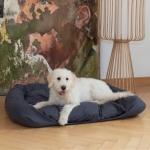 """Hundebett """"Cuma"""" (natur, 120/100cm, dunkelblau, Schafschurwolle und Latexflocken)"""