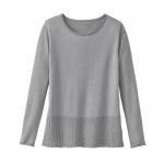 Ajour Pullover mit Bio Baumwolle, silbergrau