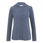 Kapuzen-Strickjacke aus reiner Schurwolle, jeans
