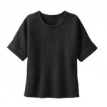 Kurzarm Pullover aus Bio Wolle, schwarz
