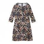 Blüten Print Kleid aus Bio Baumwolle, schwarz-gemustert