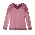 Jacquard Pullover aus Bio Merinowolle, rosenholz-gemustert