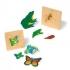 Frosch und Schmetterling - zwei lehrreichen Lagenpuzzle mit Entwicklungsstufen