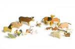 Tiere-Satz - 20 Holztiere vom Bauernhof, Wald und Savanne im Set