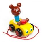 Ziehspielzeug Bär im Holzauto aus Buchenholz für Kinder ab 3 Jahren