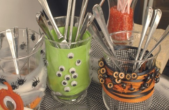 Halloween-Tischdeko für Besteck selbst machen
