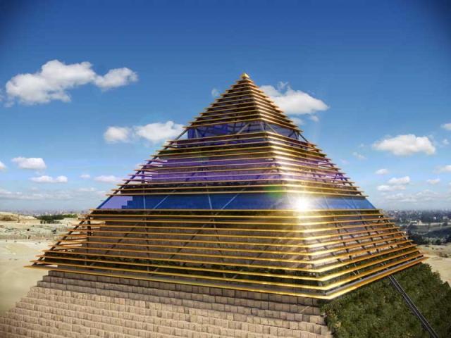 Nachhaltig bauen garrido baut museum das cheops pyramide for Interior de una piramide