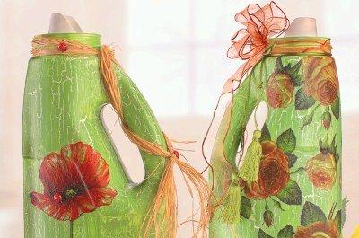 Basteln mit Plastikflaschen: Schicke Gießkanne im Frühlingslook