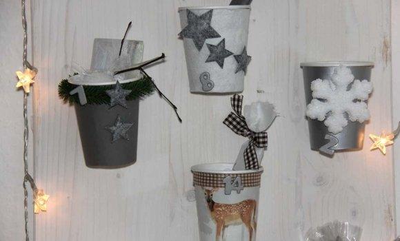 Mit Pappbechern Schönes für die Adventszeit basteln