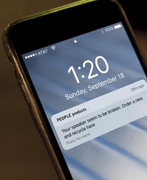 People products: Benutzer erhält Push-Nachricht, wenn der Lautsprecher kaputt ist.