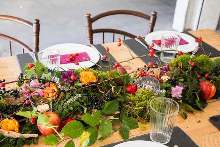 natürliche Tischdekorationen